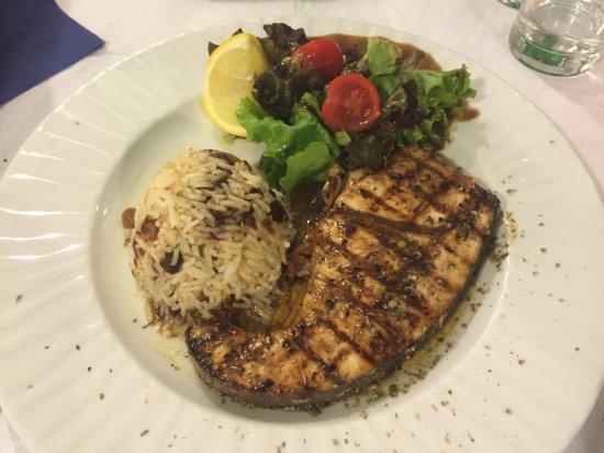 The Muses: Swordfish Steak, rice with cardamon pods and sultanas, side salad