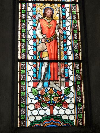 Cerknica, St. Mary's church: Window with a knight