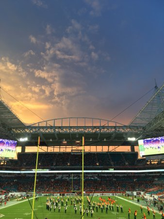 Miami Gardens, FL: Beautiful view from Hard Rock Stadium as the sun is setting