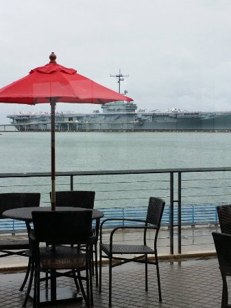 The Art Museum of South Texas: view from the Art Museum's Dobson Café: USS Lexington