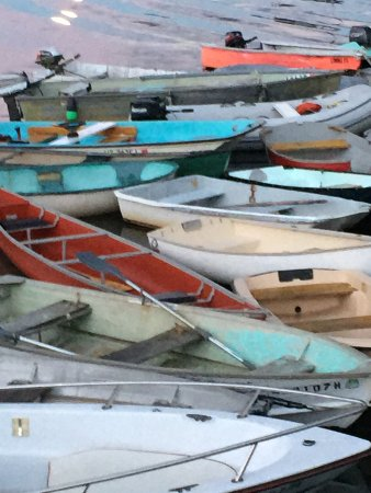 Moonlit dinghies at Round Pond Harbor