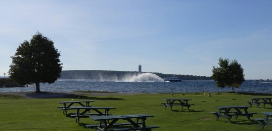Michigan: View of one of the boats from Mackinaw Island