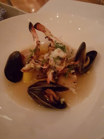 Rickys River Bar + Restaurant: Local grilled seafood with crayfish consommé