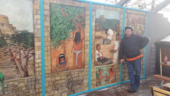 Idyllwild, CA: Here I am in front of the mural I painted for El Buen Cacao.