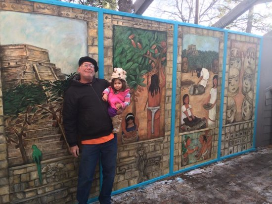Idyllwild, CA: Here I am in front of my mural at El Buen Cacao with my granddaughter Sofia!