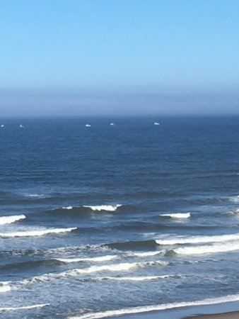 Ocean Terrace Condominium Suites: View from Unit 29, fishing boats and surf.