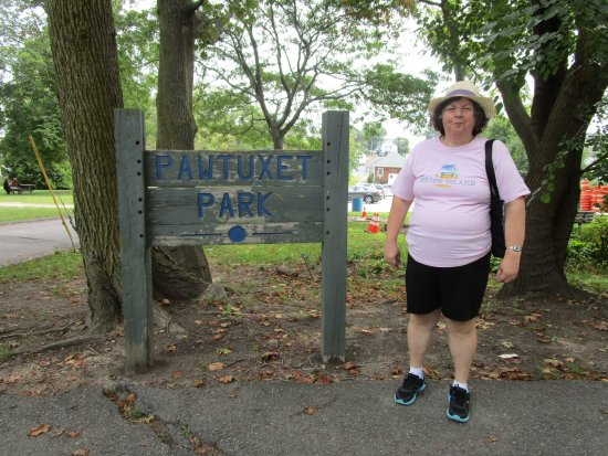 Cranston, RI : That is me standing in front of a sign in Pawtuxet Village.