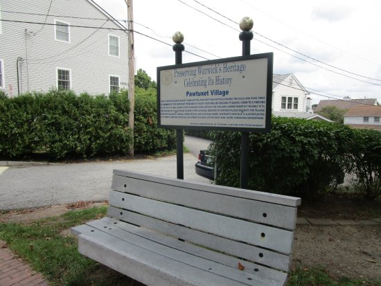 Cranston, RI: A bench at Pawtuxet Village.