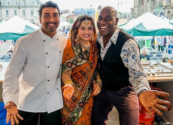 Best Indian, JazBa Bar & Spice Grill,: Good Friend Ainsley Harriott with Award Winning Chef Farooq Ahmed & Wife Shefali
