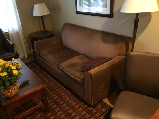 Green Mountain Suites Hotel: Uncomfortable living room sofa
