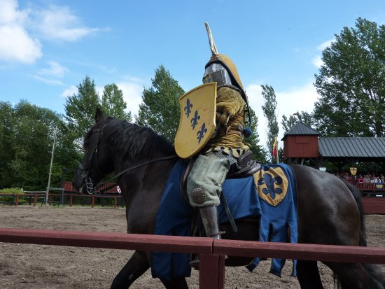 Guldborg, Denmark: A knight in full armour during the jousting event