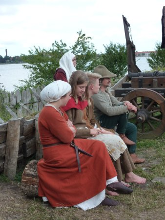 Guldborg, Denmark: Some of the volunteers dressed in period costumes. They come from all over Europe.