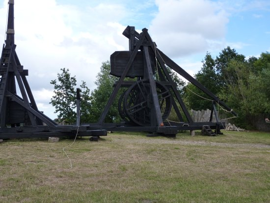 Guldborg, Denmark: The large trebuchet is made ready for launch. The smaller one has just been fired.