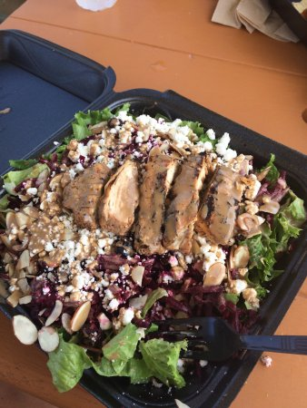 Crave Food Truck: Made my own salad with chicken, beats, cranberries, goat cheese, almonds and balsamic dressing.