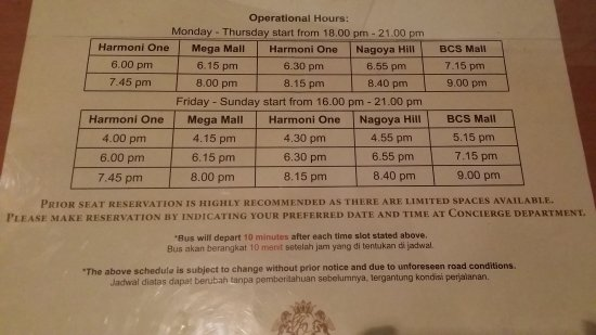 Shuttle bus schedule, should start earlier for weekend  - Picture of