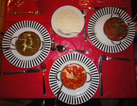 Alexander Heights, Australia: From left: Saag Chicken, Butter Chicken, Lamb Rhogan Josh