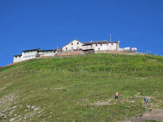 Faulhorn : スイッチバックの道を登りきるとファウルホルンホテル。このコースはトイレがないのでお勧めです。