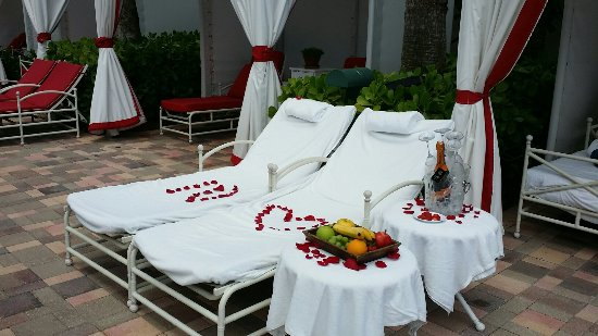 Sunny Isles Beach, FL: Sara Garcia set up a fabulous cabaña for my Son & his wife for there 10 yr Anniversary! Sara was