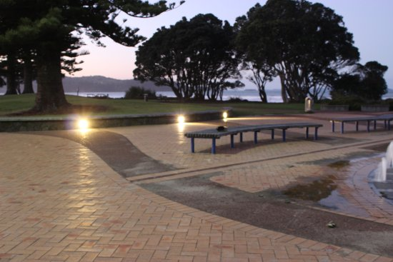 The small fountains and seats at the steps down to Orewa Beach at the centre of Orewa town.