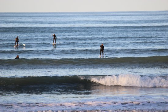 Paddleboarders and a surfer waiting for the right wave at Orewa Beach
