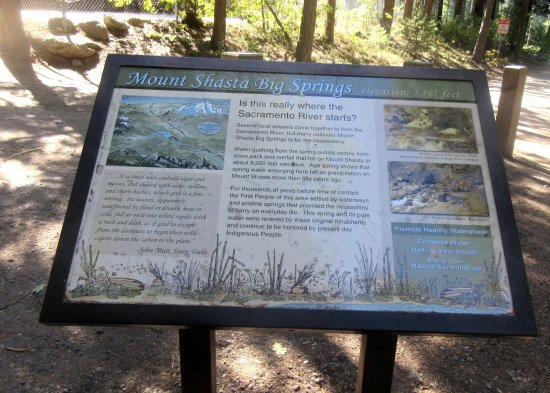 Information Sign About the Headwaters, Mount Shasta City Park Mount Shasta. CA