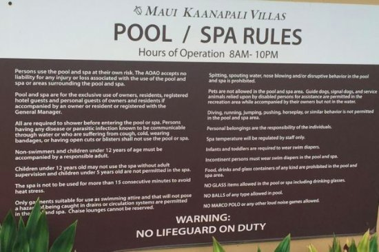 Aston Maui Kaanapali Villas: Rules of the pool, one of 3 signs all with different rules