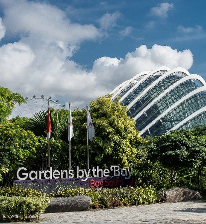 gardens by the bay front entrance to the complex in the background is cloud