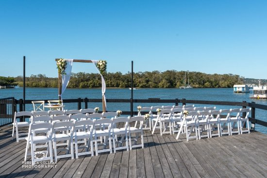 Tewantin, Australia: Helipad set up for ceremony by first class functions (Photos by Rebecca Colefax)