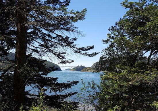 Oak Harbor, Ουάσιγκτον: View of Comet Bay looking west with the Deception Pass Highway 20 bridge in background.