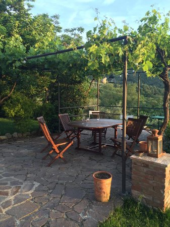 Paciano, Italia: Pergola where we would eat outdoors.