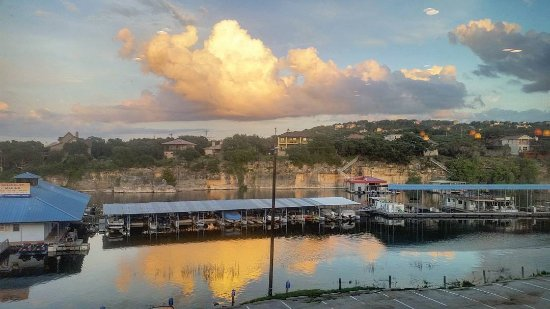 Looking out over Lake Travis and Briarcliff Marina from the outdoor deck at The Lantern Bar & Gr