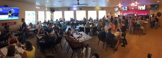 Briarcliff, TX: One of the dining rooms at The Lantern Bar & Grill, overlooking Lake Travis and next to our full
