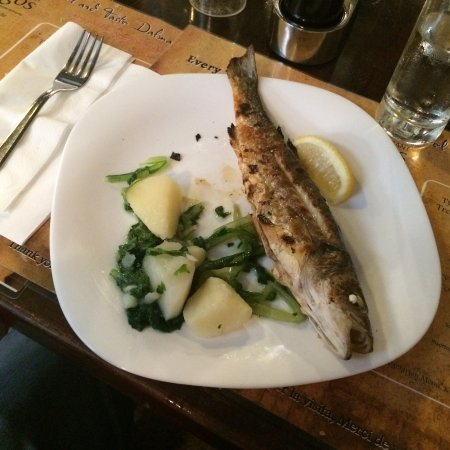 Tragos: The grilled local fish with boiled potatoes and spinach
