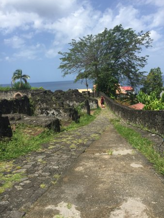 Saint-Pierre, Martinique : One of the streets which is all that remains from eruption.