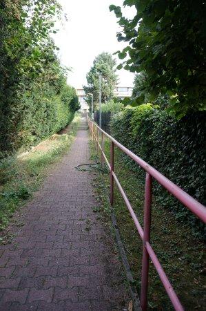 Villa Edvin: Начало лестницы, если подниматься от отеля в сторону метро