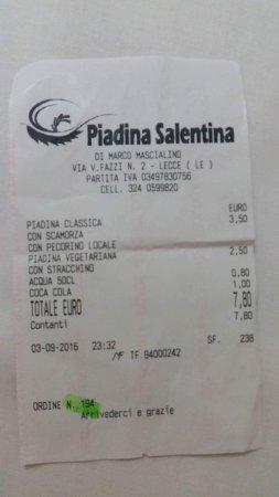 Piadina Salentina : ricevuta