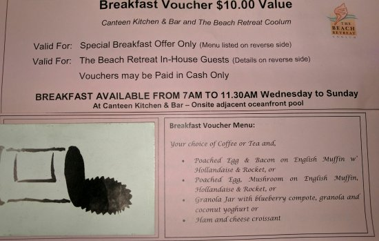 Coolum Beach, Australien: 10$ breakfast and coffee beach retreat guests