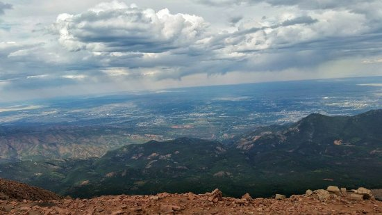 Pikes Peak: 14,115 feet up! You can see the city of Colorado Springs and