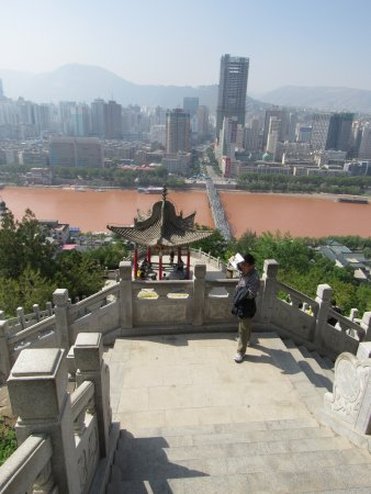 Lanzhou, China: Looking down on Zhongshan Bridge