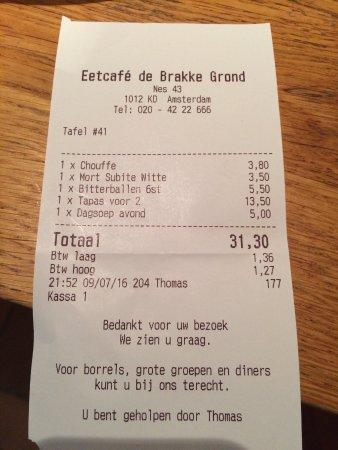 Brasserie de Brakke Grond: Very reasonable for good food