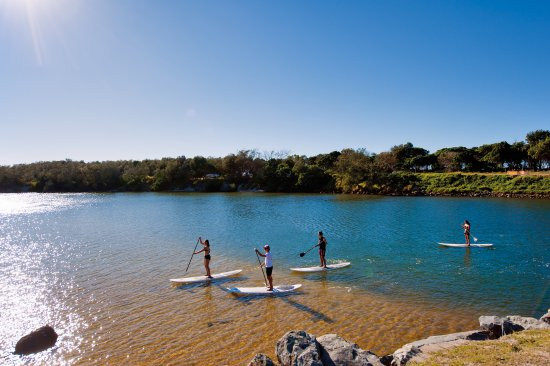 Stand up paddle boarding on Cudgen Creek, Kingscliff
