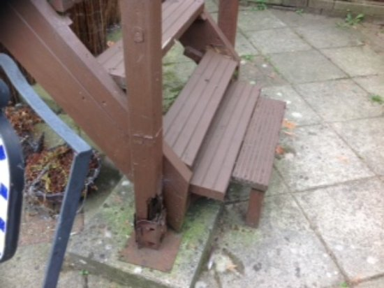Isleham, UK: broken and rotten steps