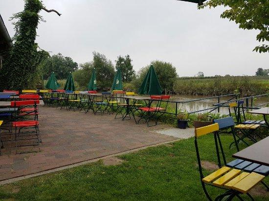 Jork, Deutschland: Garden along the River Este.