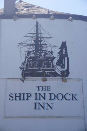 The Ship in Dock Inn: The pub sign at the front