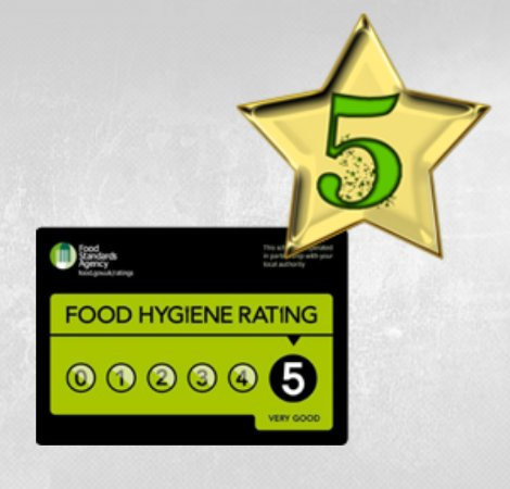 Greater Manchester, UK : 5 star hygiene certificate