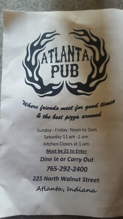 Atlanta, Indiana: Great pizza at the Atlanta Pub!!!
