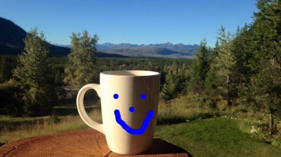 West Glacier, MT: Morning Coffee with a view from our cabin at Glacier Raft Company