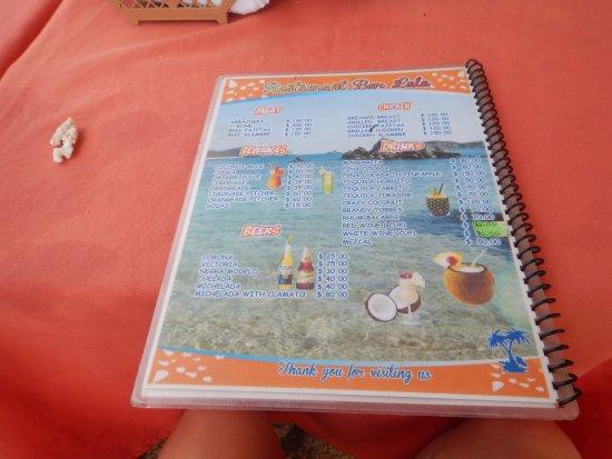 Playa San Augustin: menu LaLa Restaurant & Bar, Playa San Agustin