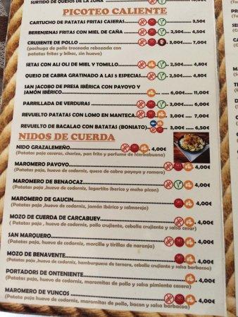 Grazalema, Spanien: Carta Gastrobar La Maroma