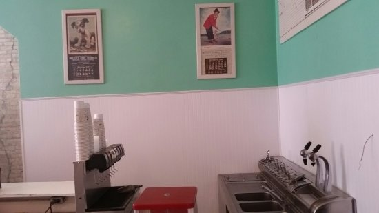 Watertown, WI: Inside the remodeled Mullen's and a picture of their famous Blue Moon ice cream (which tastes li